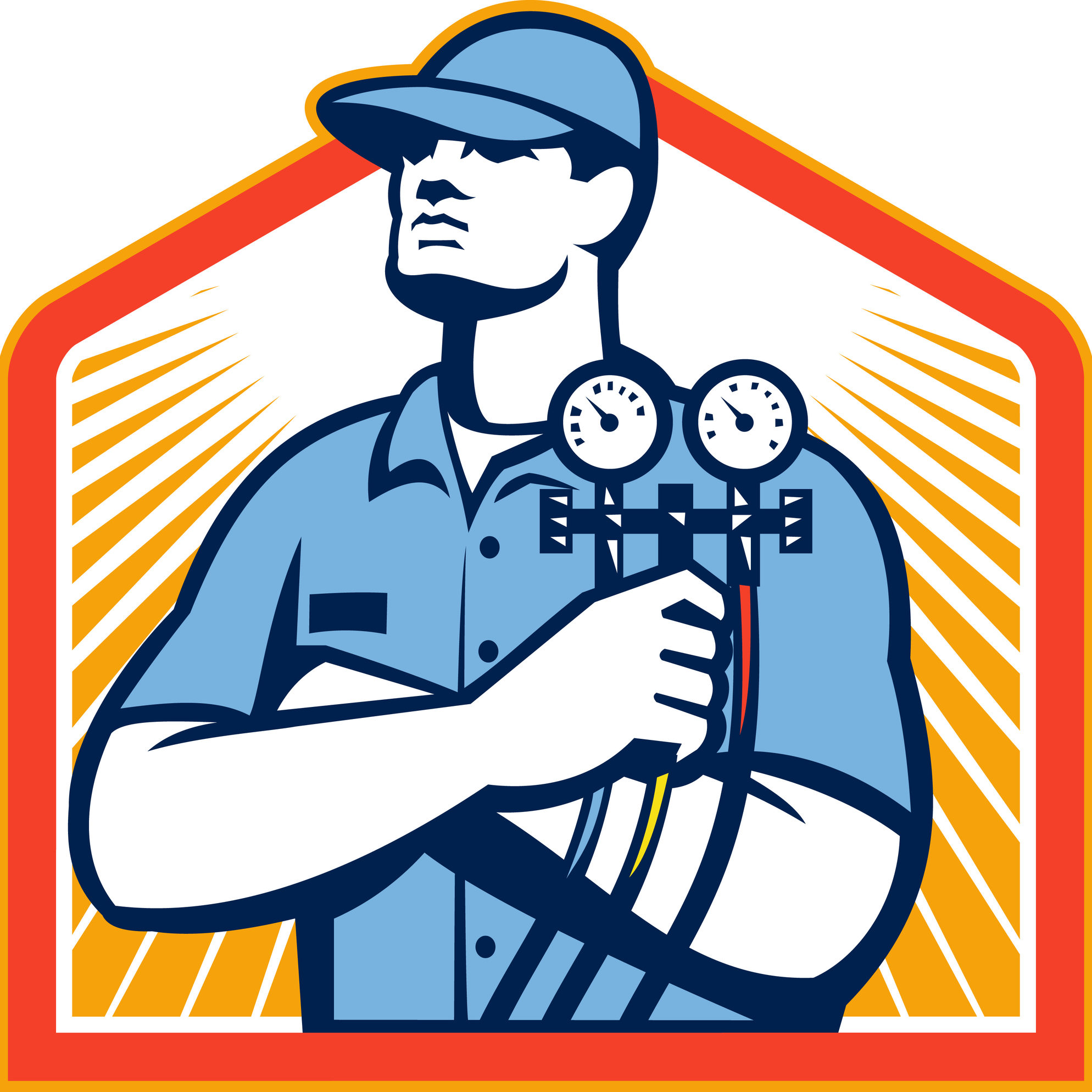 Illustration of a refrigeration and air conditioning mechanic holding a pressure temperature gauge front view set inside shield on isolated on white background done in retro style